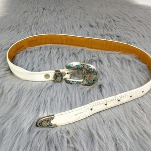 Vintage Western Genuine Leather German Silver Belt